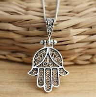 Solid 925 Sterling Silver Filigree Hamsa-Hand of Fatima Pendant Good Luck Charm