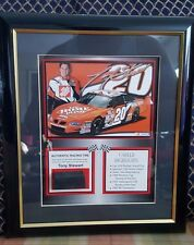 Tony Stewart #20 Mounted Memories Framed 2003 Photo w/Piece of Tire from race