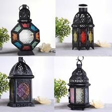 Glass Metal Moroccan Delight Garden Candle Holder Hanging Lantern Lamp Outdoor