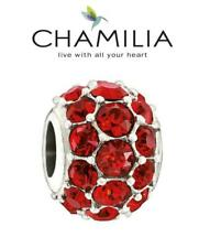 Genuine CHAMILIA 925 silver Swarovski RED SPLENDOR charm bead, Christmas, love