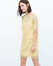 ZARA WOMAN LEMON YELLOW PASTEL LACE GUIPURE SHIFT DRESS M 10 12!