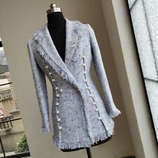 Purple blue multicolor fringed pearl button double breasted blazer jacket coat