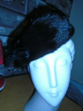 VINTAGE 1950s black mink real fur hat pillbox beret 40s-50s style