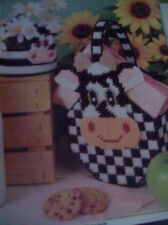 PLASTIC CANVAS PATTERN ~ COUNTRY COW BASKET  INSTRUCTIONS ONLY