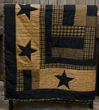 Primitive Country Delaware Star Quilted Throw Black Cotton Farmhouse