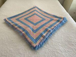 Handmade Colourful Pastel Acrylic Granny Crochet Single Blanket Tassel Fringe