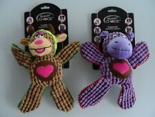 SET OF TWO PLUSH DOG TOYS. SQUEAKS & CRINKLES