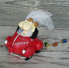 Spardose Brautpaar im Auto mit Dosenkette Just Married Schafe Cabrio rot NEU
