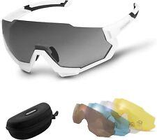 ROCKBROS Polarisierte Radbrille Fahrrad Ultraleicht Sportbrille UV-Schutz Weiß