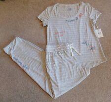 NWT Jasmine & Ginger Set Gray Striped Sleep Shirt Size S & Jogger Pants Size XS