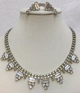 Rhinestone Collar Necklace & Clip On Earring Set Wedding Glass Stones Vintage