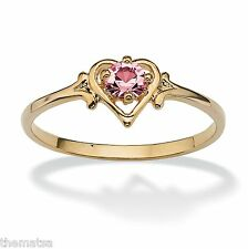 WOMENS 14K GOLD BIRTHSTONE PINK TOURMALINE HEART SHAPE RING SIZE  5 6 7 8 9 10