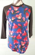 LuLaRoe Blue Pink Cute Floral Print Randy Tee Baseball Long Sleeve Top Sz XS