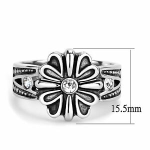 Small CZ Solitaire Center High Polish Stainless Steel Mens Cool Designer Ring