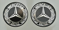 2x Mercedes-Benz Logo 3D gewölbte Aufkleber. Silber Schwarz. Größe 30 mm