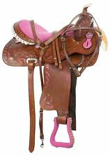 Leather Western Bling Barrel Racing Show Horse Saddle Tack 16 inch Free Shipping