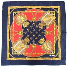 "Designer PIERRE CARDIN Classic Royal EQUESTRIAN Blue Red Crepe Silk 33"" Scarf"
