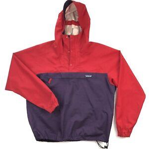 Patagonia Vintage Snap T Mens Medium Red Pullover Hooded Windbreaker Jacket