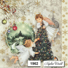 (1962) TWO Individual Paper LUNCHEON Decoupage Napkins - CHRISTMAS ANGELS TREE