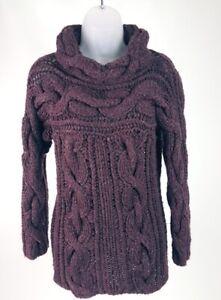 Women's Pringle of Scotland Plum Cable Knit Cashmere Cowl Neck Sweater Top L/XL