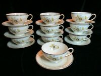 ANTIQUE P.T. BAVARIA TIRSCHENREUTH GERMANY US ZONE TIR561 RARE 10 CUPS & SAUCERS