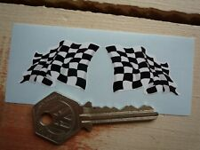 "Chequered Flag Wavy Style Car Bike Scooter Stickers 1.5"" Pair Racing Race Finish"