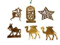 Vintage lot of 5 Brass Cutout Christmas Ornaments plus 1 plated steel ornament