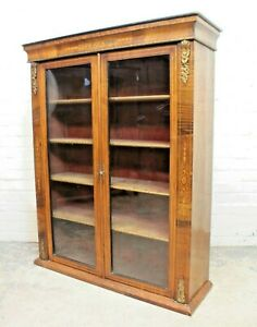 Antique Victorian Burr Walnut Vitrine Pier Cabinet Display Cabinet (Can Deliver)