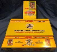 1990 Score Baseball Lot Rack Box-Wax Box & Sealed Factory Set Over 2400 Cards