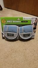 Golds Gym 5lb Pair Adjustable Ankle Weights Blue 2.5lb ea.
