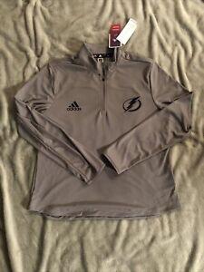 Women's Adidas Tampa Bay lightning Pullover quarter zip gray Large NWT $75