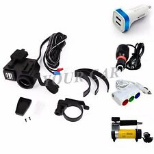 12V 4.2A Motorcycle Handlebar Handle Bar Clamp Charger Power 2-USB Port Socket