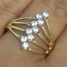 .27 carat Wide 14k Yellow Gold 9 white stone anniversary semanario Ring S 7