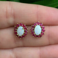 ESTATE Opal and Ruby Flower cluster 18K Yellow Gold Over Stud Earrings