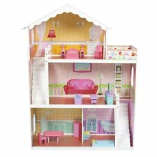 Wooden Kids Doll House With Furniture & Staircase Fits Barbie Dollhouse