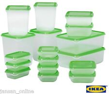 IKEA PRUTA Set of 17 Clear Plastic Food Storage Containers with Green Lids