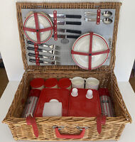 Vintage Wicker Picnic Basket Brexton Collection England Serves 4 Complete Set