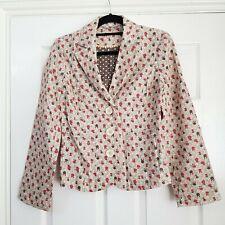 BODEN Beige 100% Linen Floral Print Jacket Size Red Brown Size 8 Smart Blazer