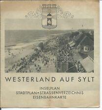 Westerland ca. 1930 Inselplan Stadtplan Eisenbahnkarte Strassenverzeichnis