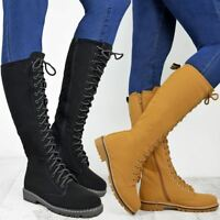 Womens Worker Flat Grip Sole Knee High Zip Lace Up Premium Boots Faux Fur Lining