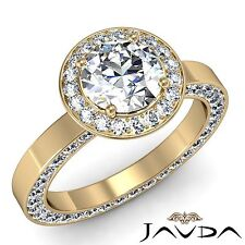Halo Round Diamond Engagement Eternity Ring GIA F VS1 18k Yellow Gold 2.83ct