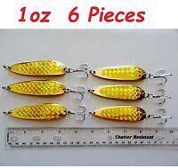 6 pcs Casting Spoons 1oz 2oz 3oz 5oz 7oz 9oz Gold Krocodile Style Fishing Lures