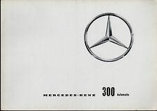 MERCEDES-BENZ 300 d berline automatique ADENAUER 1959-62 UK marché la brochure commerciale