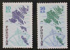 Maps stamps, 1996, Faroe Islands, SG ref: 301 & 305, 2 stamp set, MNH