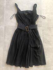 d67e6a71ca9e3 LOUIS VUITTON Black Silk Pleated Details Dress Signature Belt Size 38 UK 6 8