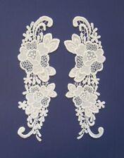 Pair Of Ornate Cream Rose Applique (B) - SL5