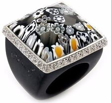 ALAN K. MURANO GRAND COLLECTION FACETED BLACK SQUARE GLASS DOME RING W/BLACK CZS