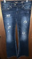 Women's Silver Tuesday 22 Flare Leg Denim Jeans Size 29 Inseam-33 Distressed