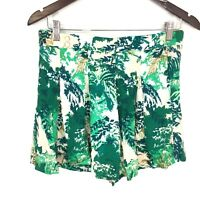 Elevenses Anthropologie Green Leaf Print Kadu Pleated Skort Skirt Women's Size 2