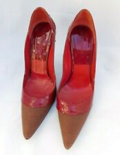 Authentic Givenchy Red Patent Leather Monogram Pointed Toe Heels Sz 38.5